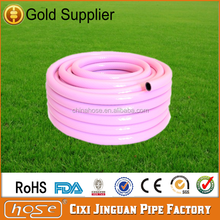 Cixi Jinguan Reinforced Soft Pink PVC Flexible Garden Water Hose,1/2 inch PVC Water Hose with Plastic Fittings