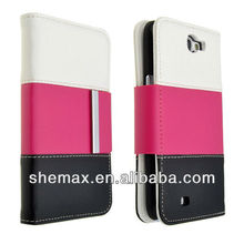 Three-Color Wallet Case pu ileather Cover For samsung Note II N7100