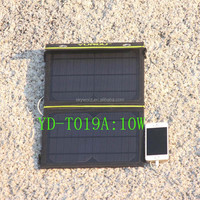 Foldable 10 W 5V portable power bank charger with good quality solar panel for mobile phone