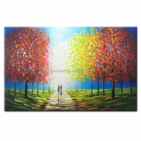 A romantic picture oil painting hand painting of two people are walking