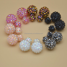 fashion jewelry Colorful AB Crystals Polymer Clay Ball Double Sided Balls Stud Earrings Double Sides Pearl Earrings SMED004