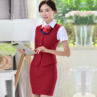 Vest , skirt and scarves for airline stewardess airline uniform of china manufacture