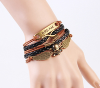 Fashion skull stainless steel jewelry men brown leather bracelet,bracelet men