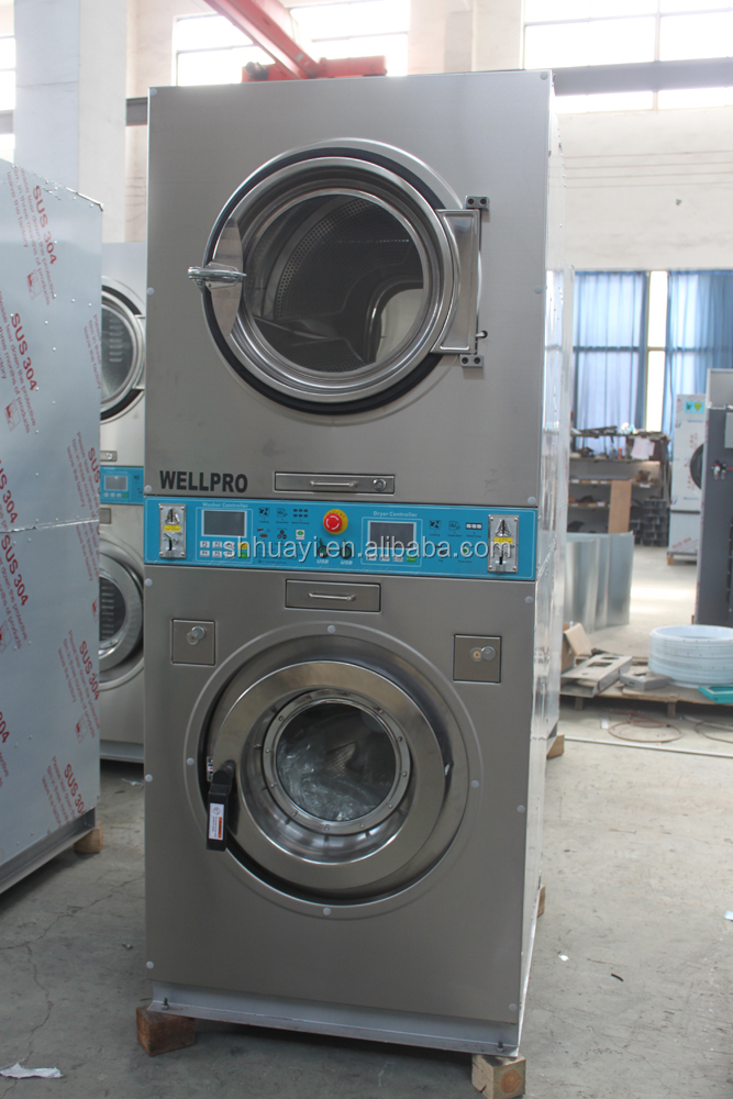 Coin operated stacked washer and dryer for self-service laundry