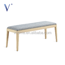 new design fabric bench with ash solid wood