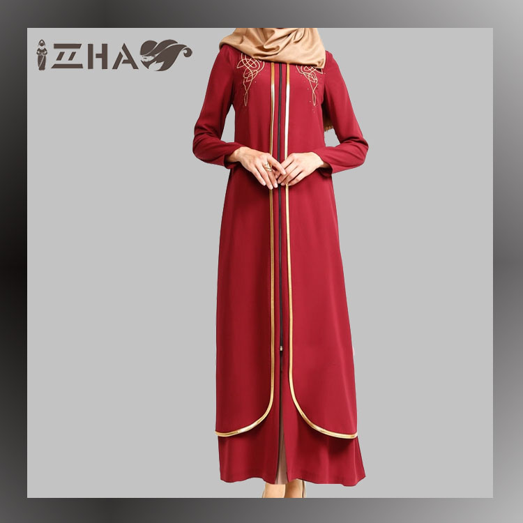 Fashion Casual Islamic Sleeve Designs Stone Work Open Front Zipper Abaya
