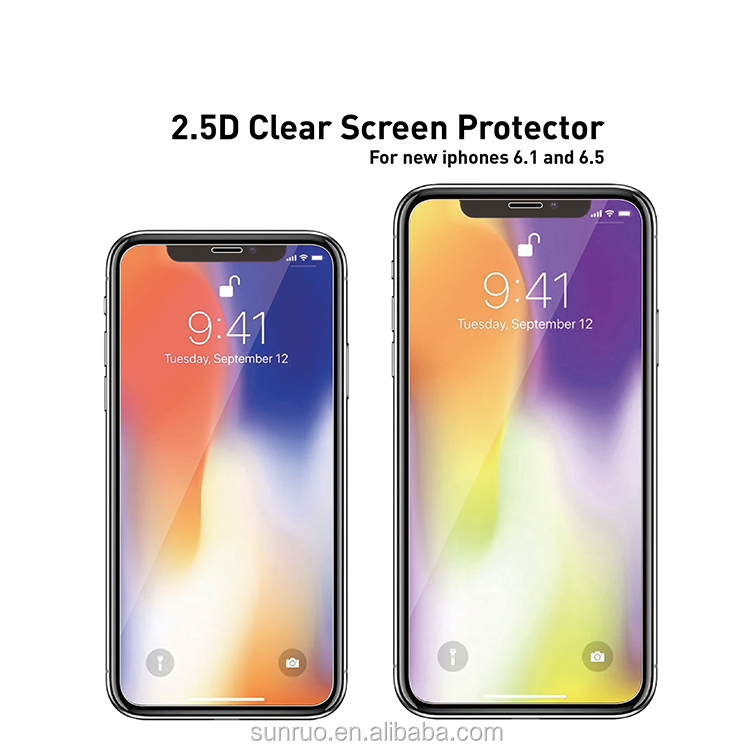 2018 SunRuo New 2.5D Clear Tempered Glass Screen Protector for iPhone XS/XS Max/ XR Screen Guard