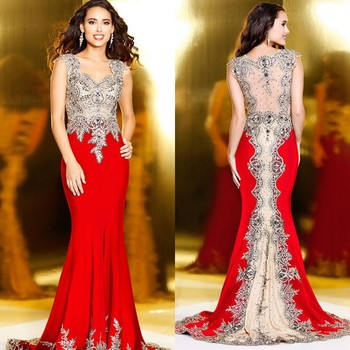 Beaded Appliqued Evening Dresses Red Sexy Wedding Dress Costume