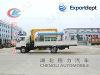 mobile workshop crane,5 ton hydraulic crane,5 tons folded boom truck mounted crane