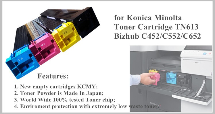 for Konica Minolta Bizhub C452 C552 C652 Cartridge TN613 toner reset chip