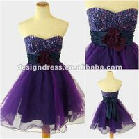 2012 autumn new arrival sequined organza short party dresses for women FO5268