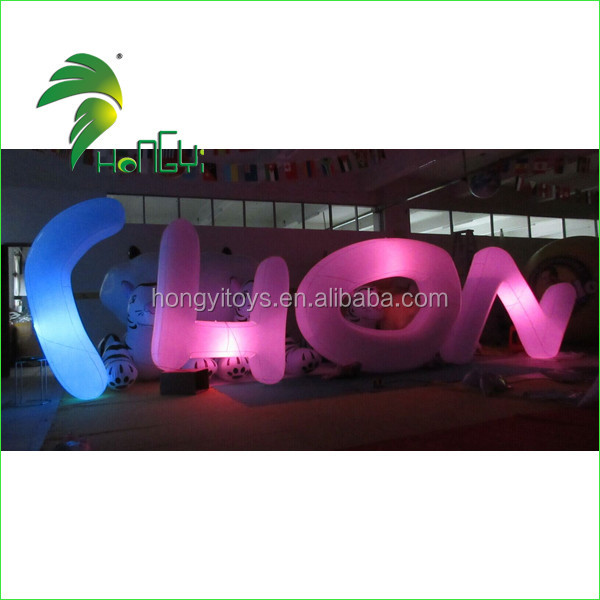 Waterproof Durable PVC Inflatable LED Light Up Letters / Pretty Decor LED Sign Board Lighted Alphabet Letters