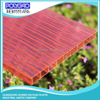 Weather resistance, easy cutting polycarbonate panels twin wall hollow sheetfor greenhouses
