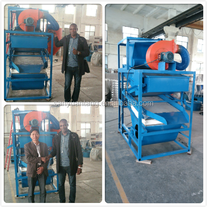Grain cleaning and grading machine for soy bean and corn
