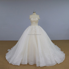 Newest sample organza ball gown wedding dress off shoulder bridal gown