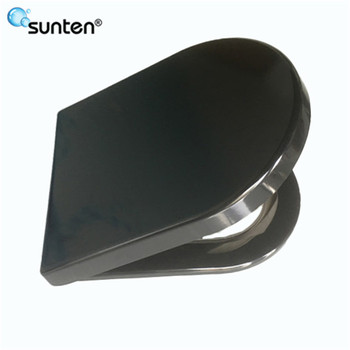 China Soft Closing Closed Front Feature Black Color D Shape Duroplast Toilet Seat