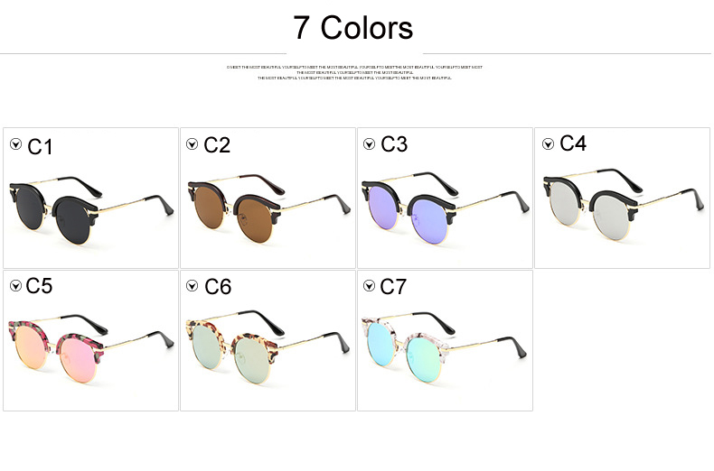 2015 New Korean Fashion Cat Eye Round Sunglasses Women Men Brand Designer Female Male Sun Glasses oculos de sol feminino CC0443