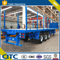 flatbed semi trailer container and log transport 3 axles low bed log transport truck trailer for sale
