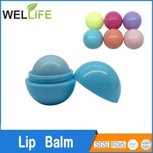 Ningbo factory Hot round ball shaped lip balm with SPF15