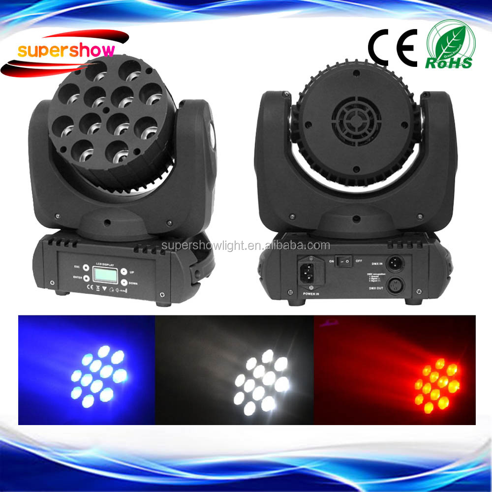 DJ Lighting 12*10w RGBW 4in1 Led Moving Head Wash Beam For Stage