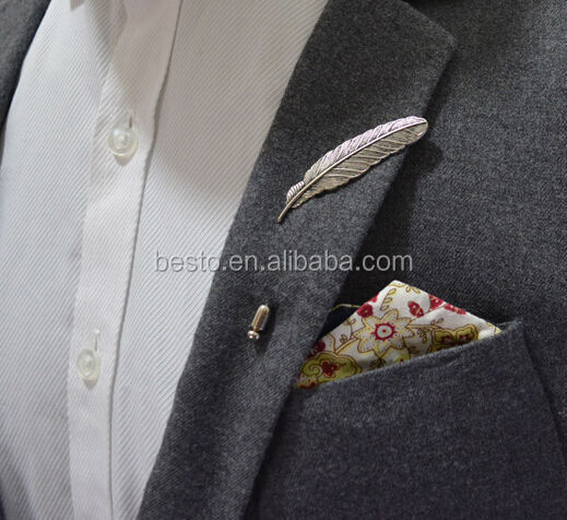 20 Years experiences magnetic lapel pin,men boutonniere long needle glod feather fashion custom flower lapel pin