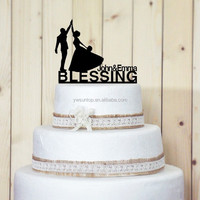 Personalized groom with dance bride Acrylic Wedding Cake Topper Birthday party favors decoration