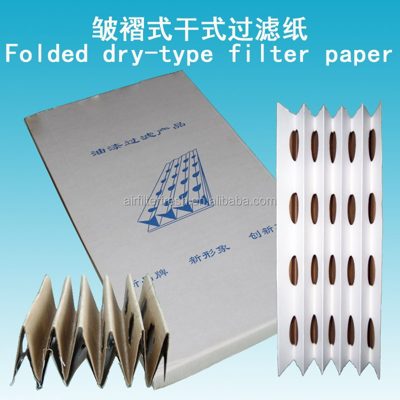 Folded paint spray booth filter media paper (manufacture)