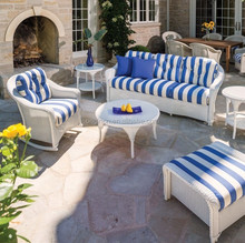 White rattan modern classic patio sofa set with rocking chair and ottoman living accents outdoor furniture