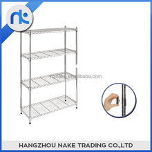 Chromed wire shelf light duty 4 tier boltless steel shelving