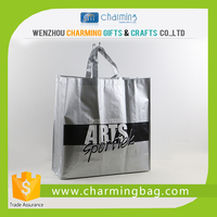 Recycled silver pp woven tote bag