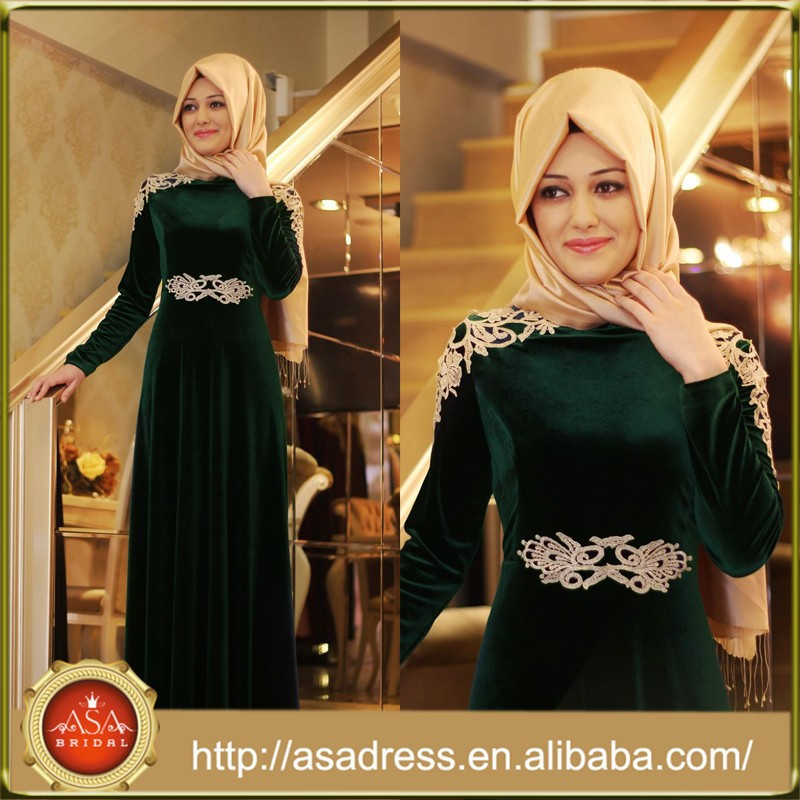 ATE06 Latest Design Arabic Lady Gowns High Collar Long Sleeve Elegant Appliqued Muslim Evening Dresses with Hijab