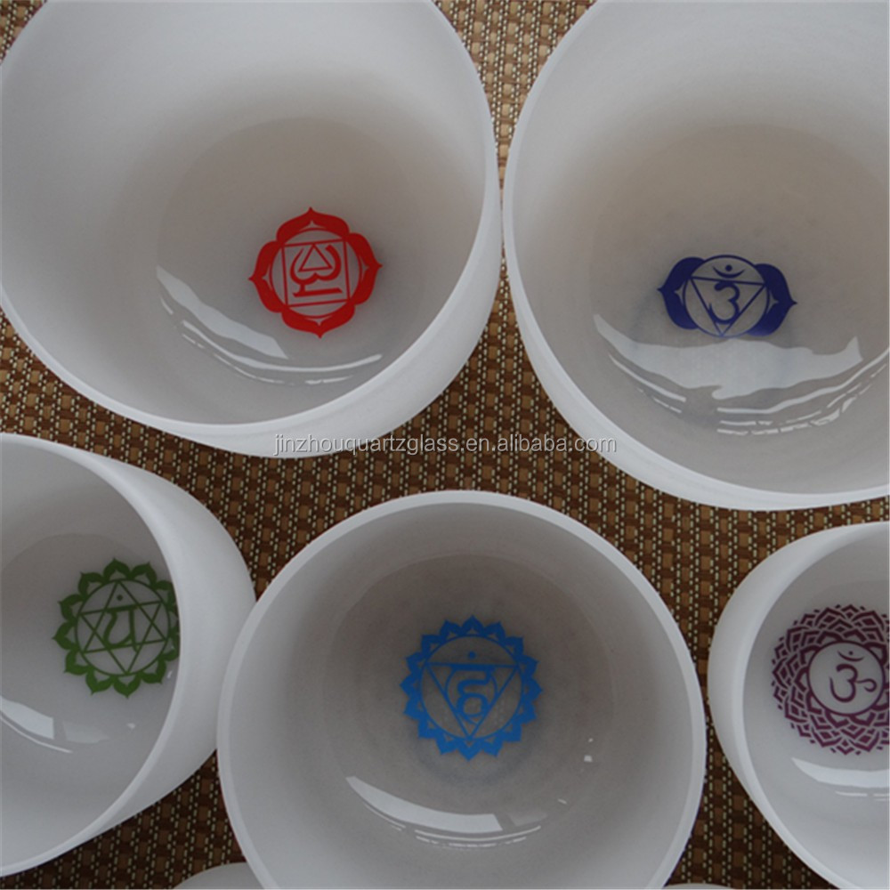 "HENGTAI 6""-24"" Chakra Symbols Colorful Design Crystal Singing Bowl Set"