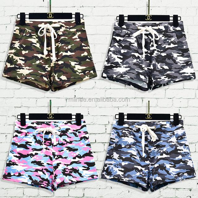 Custom Women Green Camouflage Cotton Hot Shorts Summer High Waisted Board Shorts