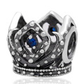 Blue Purple CZ Zircon Micro Pave Crown Authentic 925 Sterling Silver European Charm Beads For DIY European Jewelry SZPB266