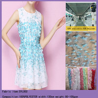 Latest 3D Mesh Chiffon Laser Cut flower african embroidery lace fabric for wedding dress