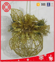 Christmas iron ball with flower ornament ,christmas gift