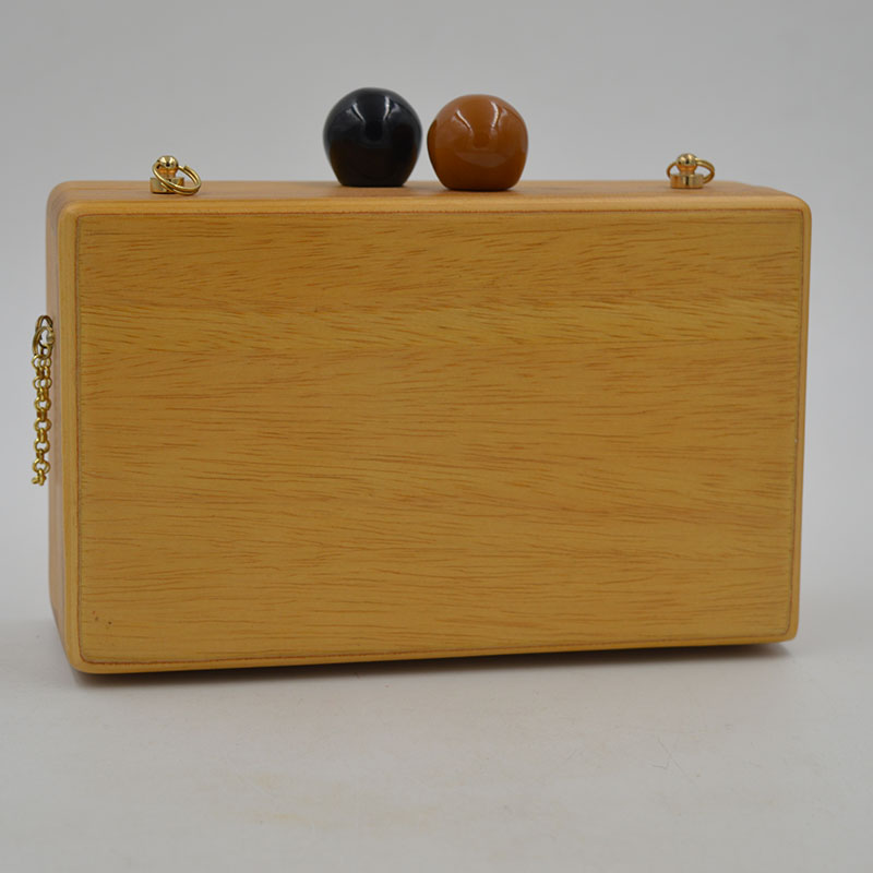 American Famous Brand Double Balls Lock Women Wooden Bag Evening Clutch Ladies Hard Case Day Clutches Minaudiere Handbag Purse
