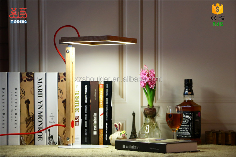 Source factory supply interior home deco LED wood table lamp square head minimalism hotel lamp