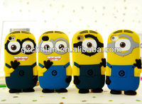 Funny 3D rubber Despicable Me cute minions cell phone case cover for iphone 4