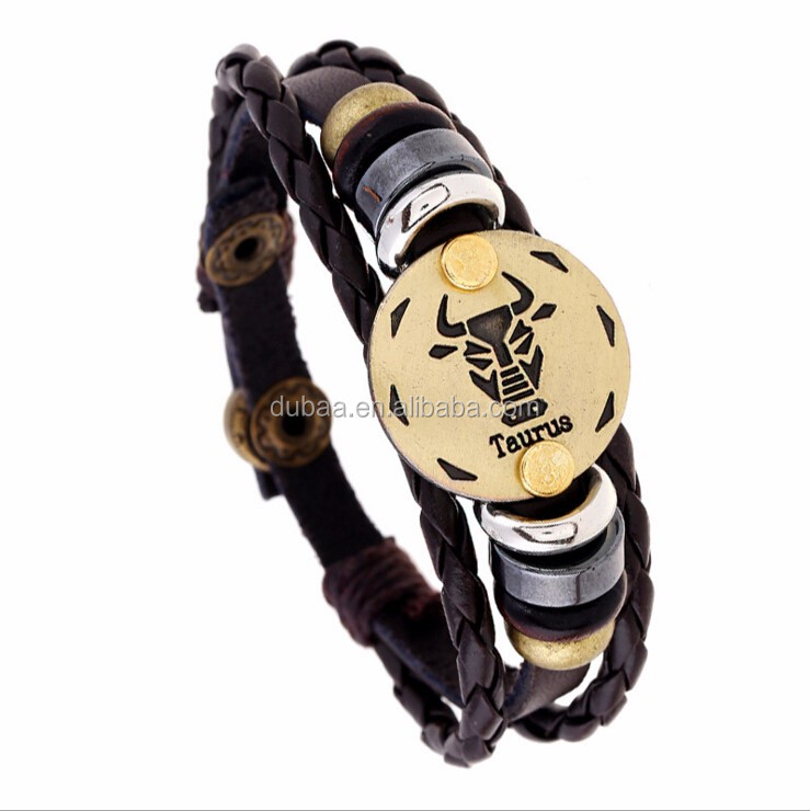 Retro 12 Zodiac Womens Mens Genuine Real Braid Faux Leather Bracelet Bangle Cuff Wristband Handmade Jewlery