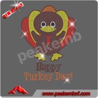 Wholesale Thanksgiving Transfers Happy Turcky Day Rhinestone Applique Iron on for Clothing