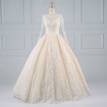 Long sleeve factory price flower bridal girl wedding dresses gowns with long trains