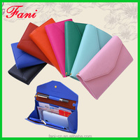 Wholesale multifunction cheap PU leather clutch purse with pen holder design for woman
