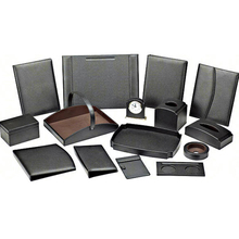 PU Leather Office Desk Organizers Desk Set Office Storage Boxes