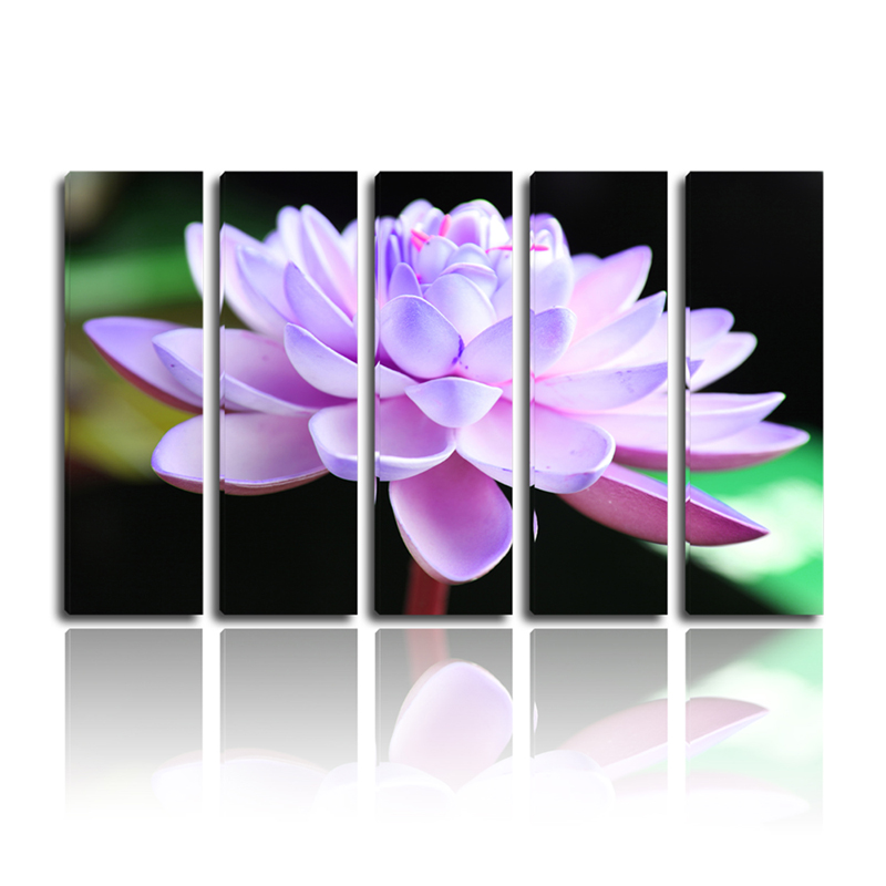 high quality canvas purple lotus art painting on canvas modern style for living room