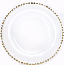 Gold Silver Clear Glass Beaded Charger <strong>Plate</strong> For Wedding Decoration
