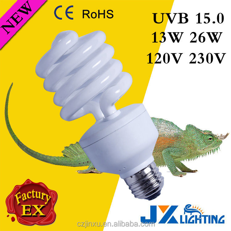 Reptile energy saving lamp UVB 10.0 strengthen compact fluorescent light 13W 26W E27 120v 240v new products