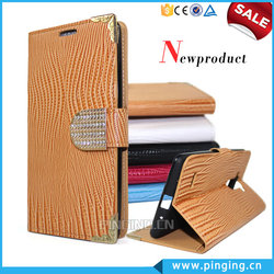 Luxury Electroplate Diamond Magnet Wallet Style PU Leather Case Cover For Lenovo Vibe C With Stand