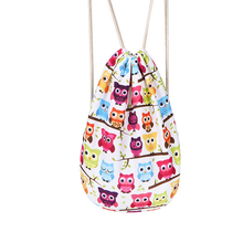 simple style casual hidden zipper pocket owl printing backpack polyester drawstring bag