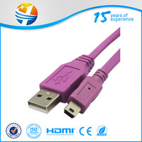 USB 2.0 A male AM to right angle Mini usb B male 5 pin Extension Cable 3M